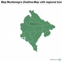 Map Montenegro (Outline-Map with regional borders)