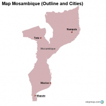 Map Mosambique (Outline and Cities)