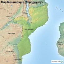 Map Mosambique (Topography)