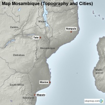 Map Mosambique (Topography and Cities)