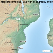 Maps Mosambique (Map with Topography and Rivers)
