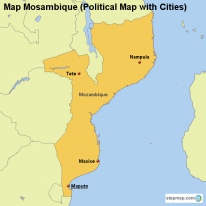 Map Mosambique (Political Map with Cities)