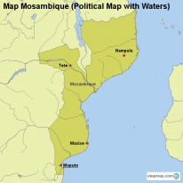 Map Mosambique (Political Map with Waters)