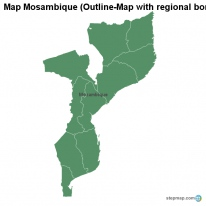 Map Mosambique (Outline-Map with regional borders)