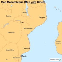 Map Mosambique (Map with Cities)
