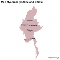Map Myanmar (Outline and Cities)