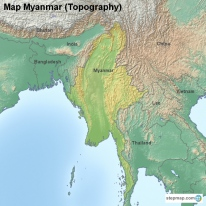Map Myanmar (Topography)