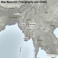 Map Myanmar (Topography and Cities)