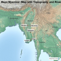 Maps Myanmar (Map with Topography and Rivers)