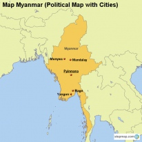 Map Myanmar (Political Map with Cities)
