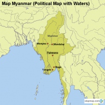 Map Myanmar (Political Map with Waters)
