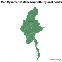 Map Myanmar (Outline-Map with regional borders)