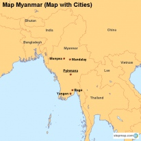 Map Myanmar (Map with Cities)