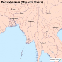 Maps Myanmar (Map with Rivers)