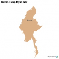 Outline Map Myanmar