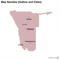 Map Namibia (Outline and Cities)