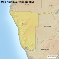 Map Namibia (Topography)