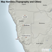 Map Namibia (Topography and Cities)
