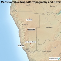 Maps Namibia (Map with Topography and Rivers)