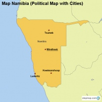 Map Namibia (Political Map with Cities)