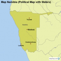 Map Namibia (Political Map with Waters)