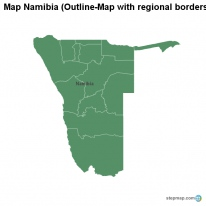 Map Namibia (Outline-Map with regional borders)