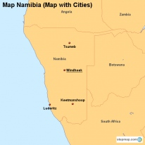 Map Namibia (Map with Cities)