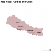 Map Nepal (Outline and Cities)