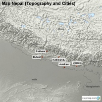 Map Nepal (Topography and Cities)