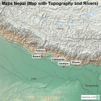 Maps Nepal (Map with Topography and Rivers)