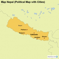Map Nepal (Political Map with Cities)