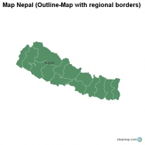 Map Nepal (Outline-Map with regional borders)