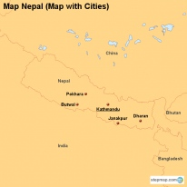 Map Nepal (Map with Cities)