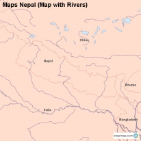 Maps Nepal (Map with Rivers)