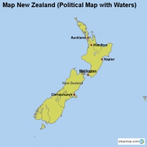 Map New Zealand (Political Map with Waters)