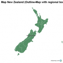 Map New Zealand (Outline-Map with regional borders)