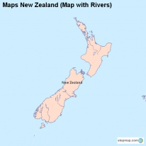Maps New Zealand (Map with Rivers)