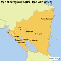 StepMap Maps For Nicaragua - Nicaragua political map cities