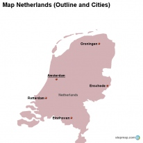 Map Netherlands (Outline and Cities)