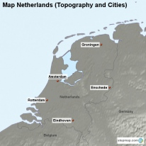Map Netherlands (Topography and Cities)