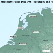 Maps Netherlands (Map with Topography and Rivers)