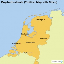 Map Netherlands (Political Map with Cities)