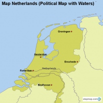 Map Netherlands (Political Map with Waters)