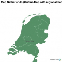 Map Netherlands (Outline-Map with regional borders)