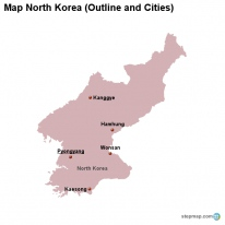 Map North Korea (Outline and Cities)