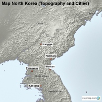 Map North Korea (Topography and Cities)