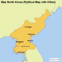 Map North Korea (Political Map with Cities)