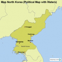 Map North Korea (Political Map with Waters)