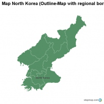 Map North Korea (Outline-Map with regional borders)