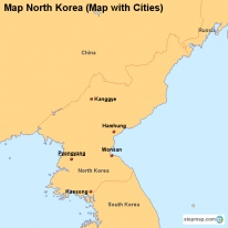 Map North Korea (Map with Cities)